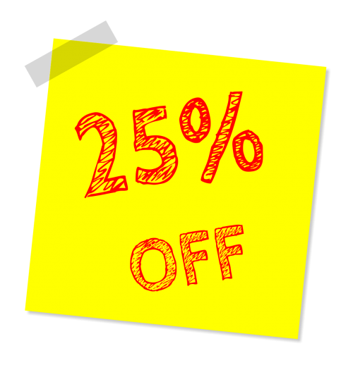 twenty five percent off discount sale