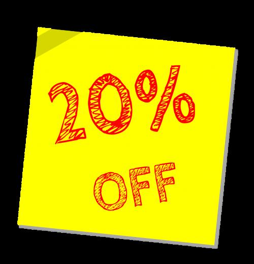 twenty percent off discount sale