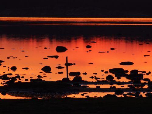 twilight,saulėlydis,vakaras,vasaros vakaras,jūra,veidrodis,gražiai