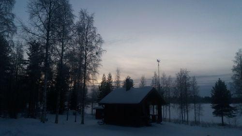 twilight january snow