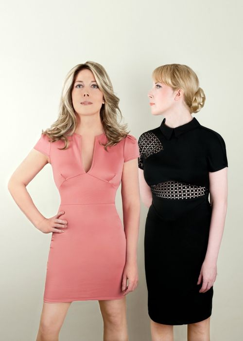 twin sisters author portrait pink