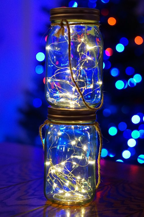 twinkle lights  christmas  mason jars