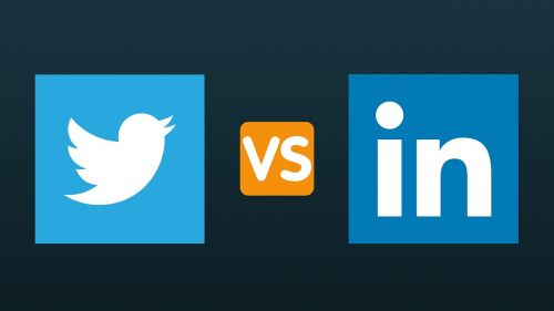 twitter vs linkedin logo graphic