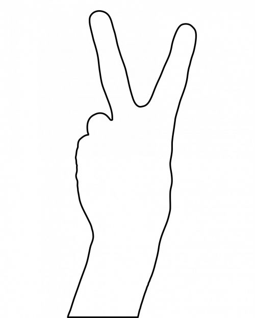 Two Fingers Victory Sign Outline