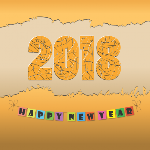 two thousand eighteen new year yellow