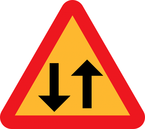two way traffic straight ahead caution sign road sign