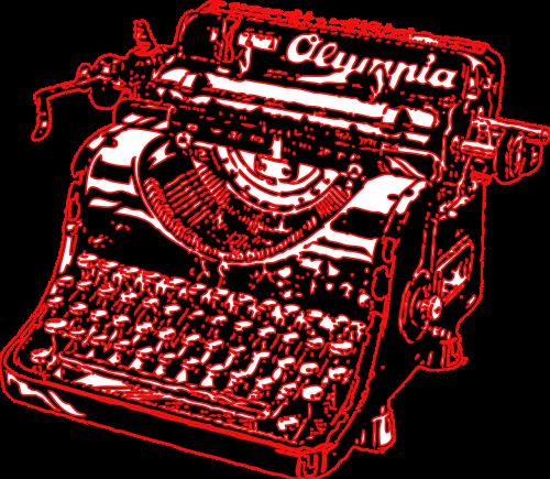 typewriter type writer red