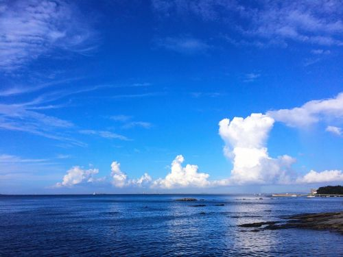 typhoon towering cumulus clouds observed blue sky