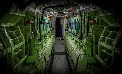 u boat  engine room  lines