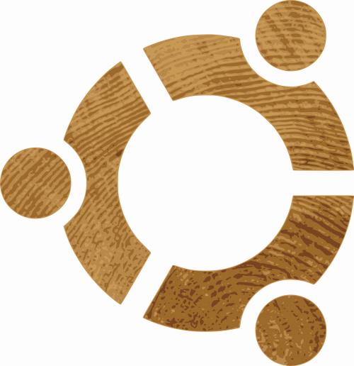 ubuntu logo wood