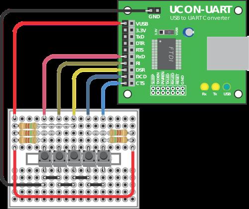 ucon-uart breadboard electronics circuit