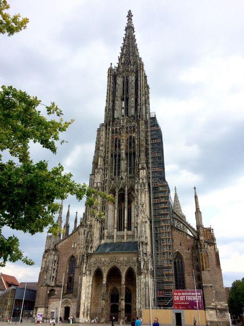ulmi katedra,bokštas,bažnyčia,pastatas,münsteris,bokštas,spire,katedra,aukščiausias bažnyčios bokštas,ulm,dangus,aukštas,galingas,gotika,pagrindinis bokštas,vakarinis bokštas,garbinimo namai