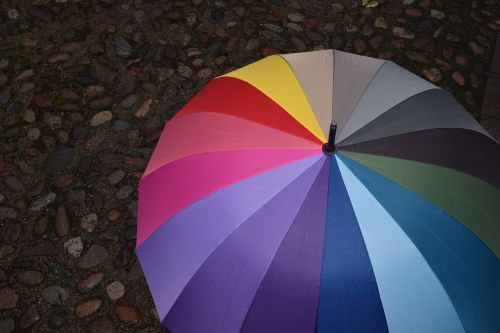 umbrella paving stones rainy weather