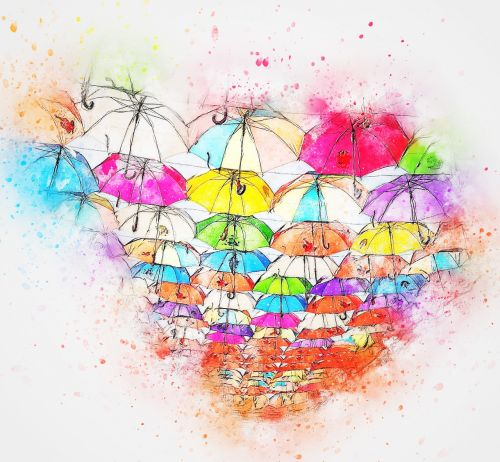 umbrella art abstract