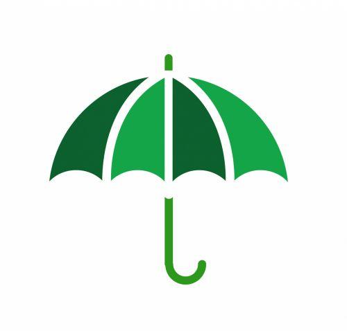Umbrella Illustration Green Clipart