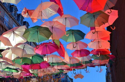 umbrellas colors street