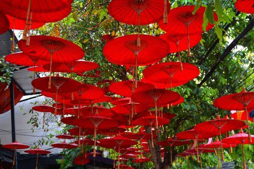 umbrellas canopy red