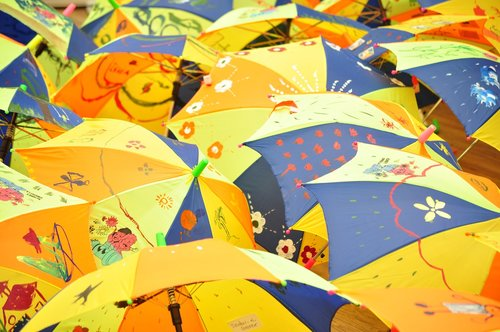umbrellas  kids painting  colorful