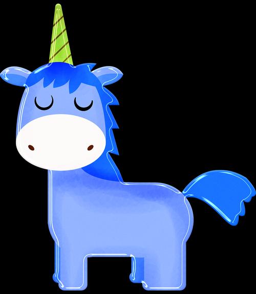 unicorn  cartoon  blue