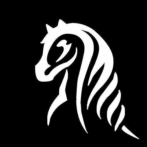 piešimas, balta, vienaragis, galva, legendinis, arklys, izoliuotas, juoda, fonas, gyvūnas, piktograma, avatar, siluetas, įsivaizduojama, padaras, legenda, vienaragio galva