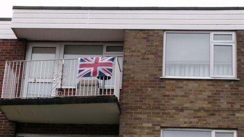 Union Jack On Apartment Balcony