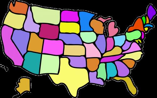 Jungtinės Valstijos,valstijos,usa,amerikietis,žemėlapis,nemokama vektorinė grafika