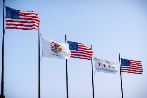 united states flag,national flag,state flag,city flag,illinois flag,chicago flag