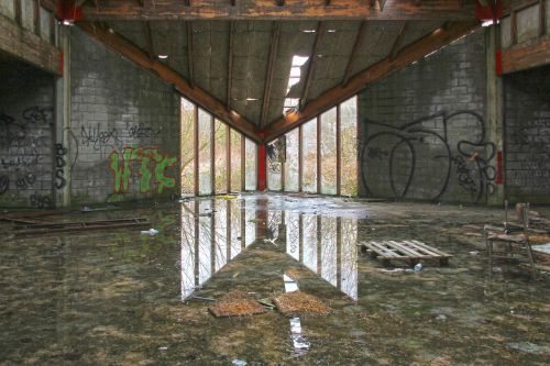 urbex abandoned barracks reflection