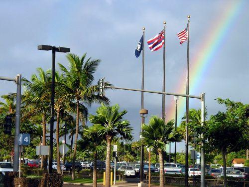 us flag hawaiian flag rainbow