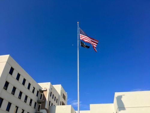 US Flag And POW Flag