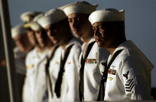 us navy sailors lined up