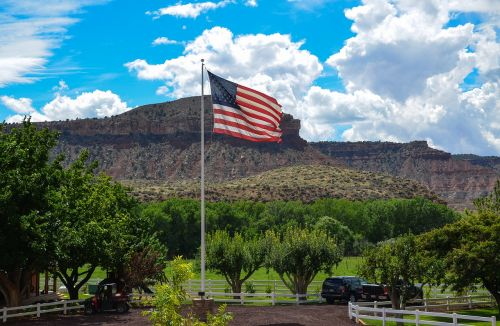 usa,america,utah,ranch,farm,american,flag,united states,usa flag,flutter,american flag,flag in the wind,landscape,trees,patriotism