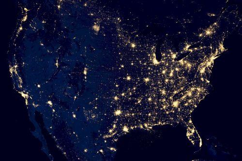 usa city lights space