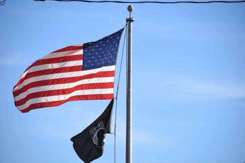 USA And POW Flags