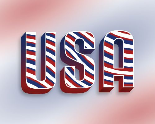USA On Red White Blue Background
