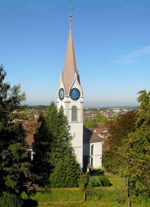 usteris,Šveicarija,bažnyčia,peizažas,kraštovaizdis,medžiai,gamta,lauke,Miestas,laikrodis,gražus,lauke,lauke,taikus,vaizdingas,architektūra
