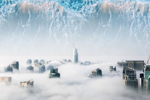 utopia  waves  a city with clouds