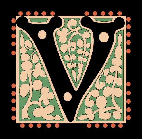 v alphabet vintage
