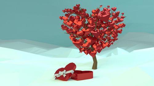 valentines,saint valentines,meilė,diena,šventė,širdis,saint,romantika,romantiškas,14,vasaris,mažas poli,3d,blenderis,širdies dėžutė,juosta,sniegas,medis,dovanos,raudona