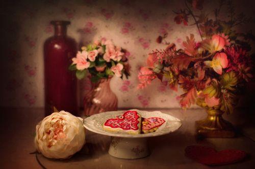 valentine's day valentine cookies still-life