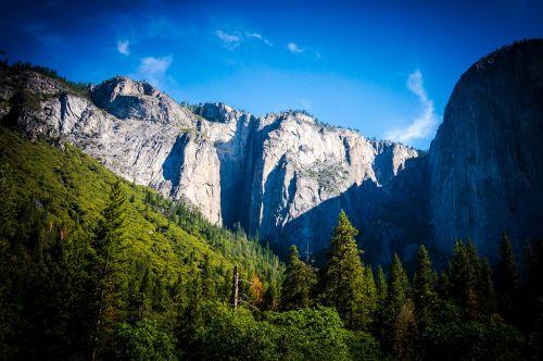 slėnis,kalnai,josemitas,Josemito slėnis,Nacionalinis parkas,kraštovaizdis,gamta,dangus,kelionė,Rokas,piko,vaizdingas,lauke,parkas,peizažas,aplinka,žygiai,natūralus,saulė,rytas,medžiai,vasara