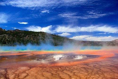 vapors over grand prismatic spring  thermal  spring