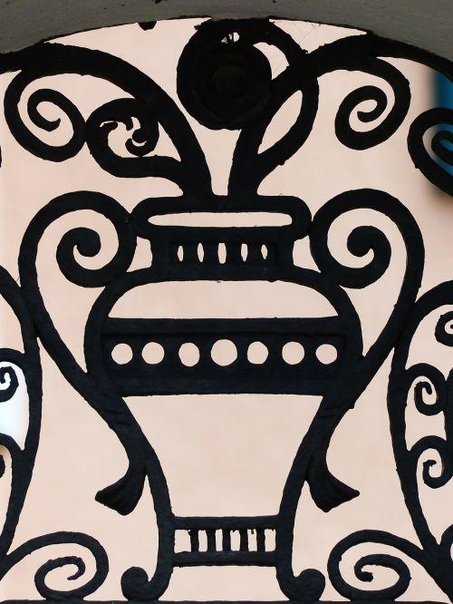 vase amphora iron railings