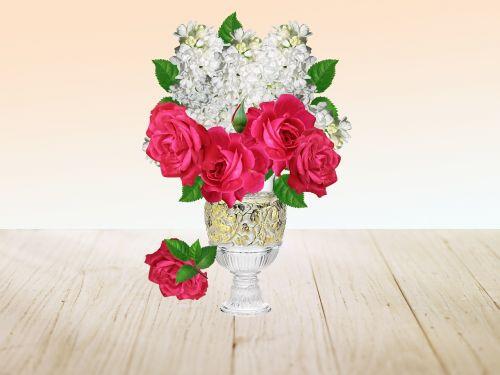 vase lilac bouquet