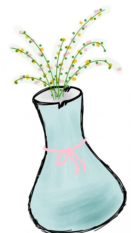 vase blue vase flowers