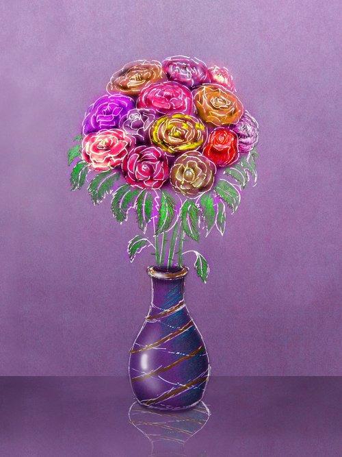 vase  bouquet  figure
