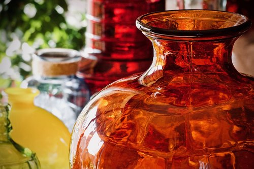vases  glass jars  colored glass