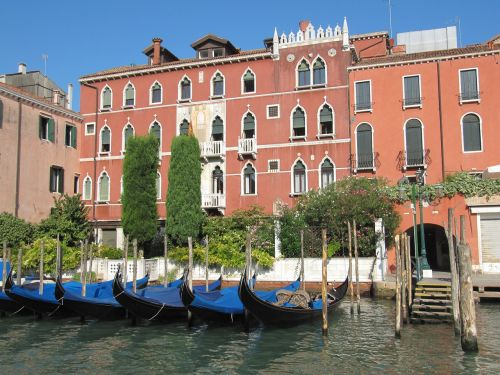 venice channel gondolas
