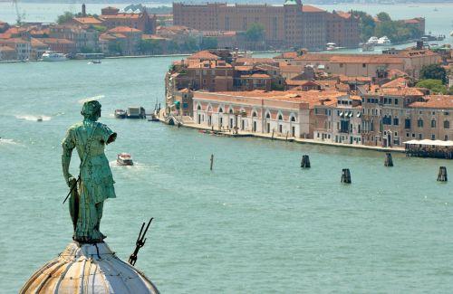 venice punta della dogana the campanile of san giorgio