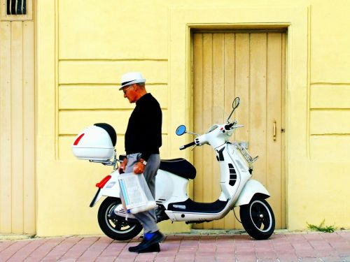 vespa scooter man